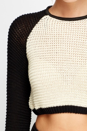 Colour Block Crop Jumper