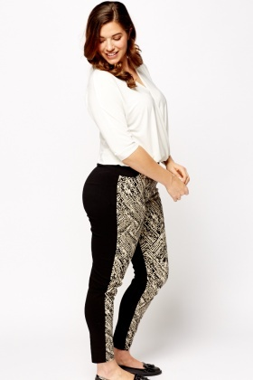 Contrast Back Mix Print Leggings