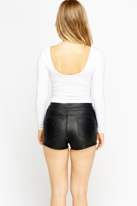 High Waist Faux Leather Short