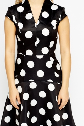 Silky Polka Dot Collard Dress