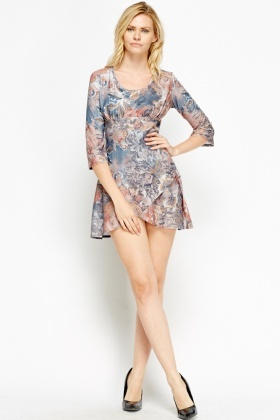 Wrap Hem Printed Mini Dress