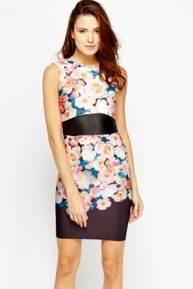 Contrast Trim Floral Pencil Dress