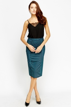 Mix Stripe Pencil Skirt