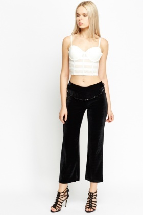 Chain Embellished Black Cropped Trousers