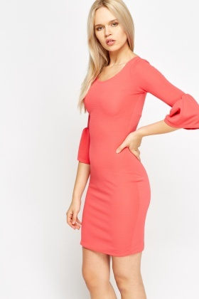 Fleeted Sleeve Textured Dress