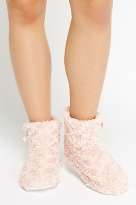 Fluffy Bow Side Slipper Boots