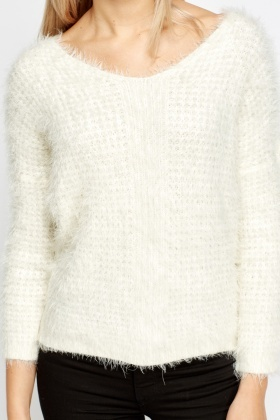 V-Neck Fluffy Jumper - Just £5