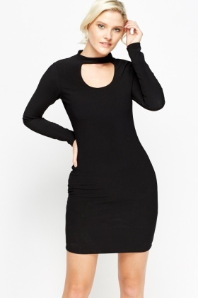 Cut Out Black Bodycon Dress