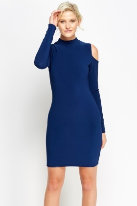 Dark Blue High Neck Cold Shoulder Dress
