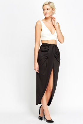 Wrap Front Black Maxi Skirt