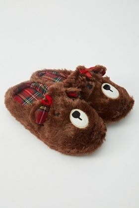 Fluffy Animal Brown Slippers