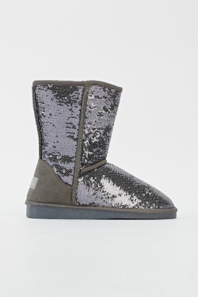 Sequin Embellished Flat Boots