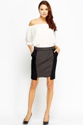 Contrast Panel Formal Skirt