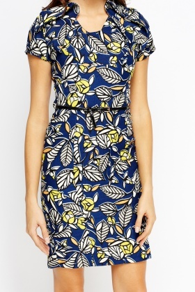 Pleated Shoulder Printed Dress
