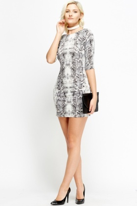 Mock Croc Print Bodycon Mini Dress