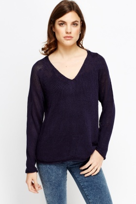 Cable Loose Knit V-Neck Jumper