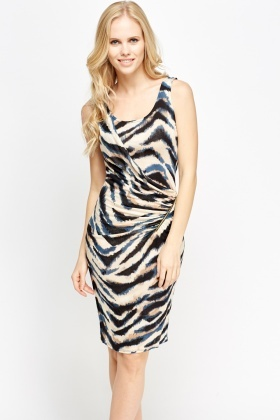 Zebra Print Ruched Zipped Dress