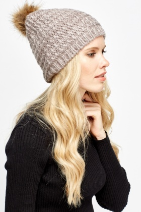 Knit Faux Fur Pom Pom Beanie Hat - Just £5 d383abf3cec