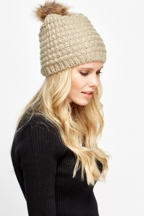 Knit Faux Fur Pom Pom Beanie Hat - Just £5 acb7bc3df4a