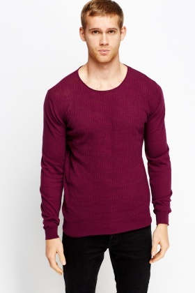 Ribbed Textured Front Jumper