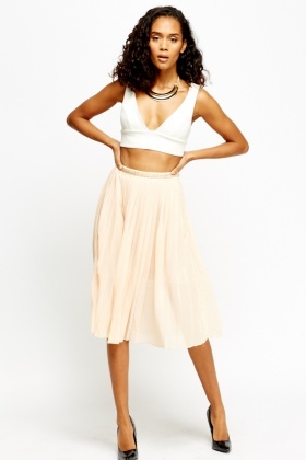 Chain Embellished Waist Pleated Skirt