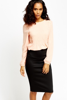Ruched Front Panel Blouse