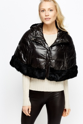 Faux Fur Trim Hooded Cover Up