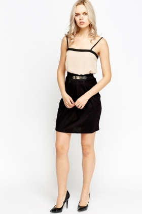 Contrast Waist Detail Mini Skirt