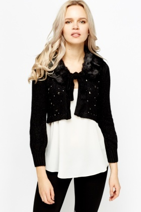 Faux Fur Collar Cropped Cardigan - Just £5