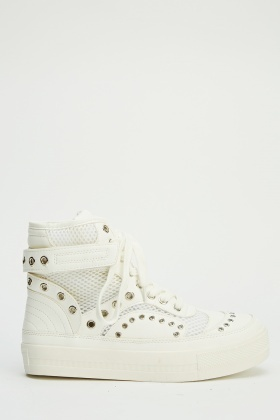 Insert Mesh Studded Lace Up Trainers