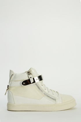 Metallic Strap High Top Trainers