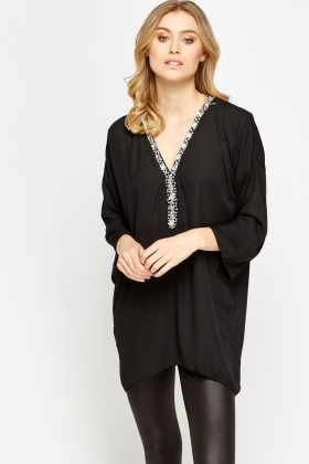 Embellished Neck Asymmetric Top