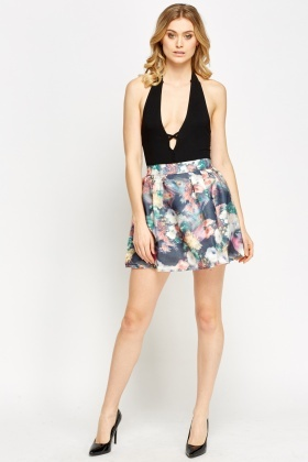 Marble Printed Mini Skirt