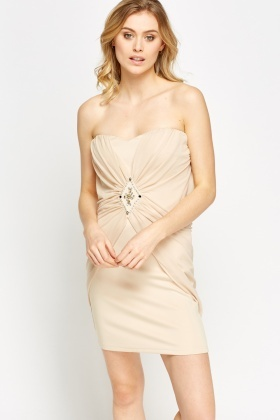 Mesh Overlay Bandeau Party Dress