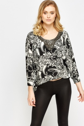 Tie Up Side Mono Print Top