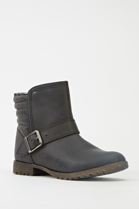 Buckle Side Ankle Winter Boots