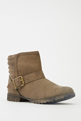 Buckle Side Chocolate Ankle Boots