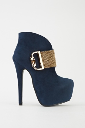 Diamante Encrusted Heeled Boots