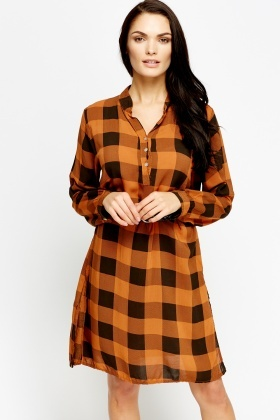 Grid Printed Long Shirt Dress