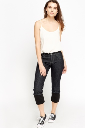 Elasticated Ribbed Hem 3/4 Jeans