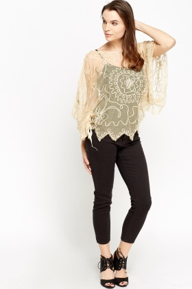 Floral Mesh Poncho Top