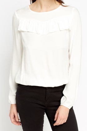 Pleated Overlay Off White Blouse - Just £5