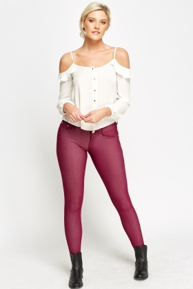 Low Raise Plum Leggings