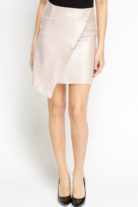 Metallic Painted Wrap Mini Skirt