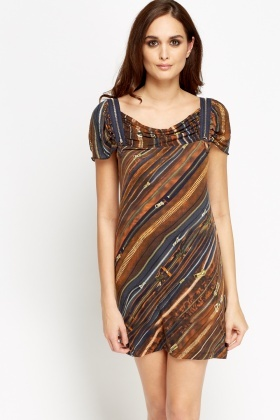 Mixed Print Zip Shoulder Dress