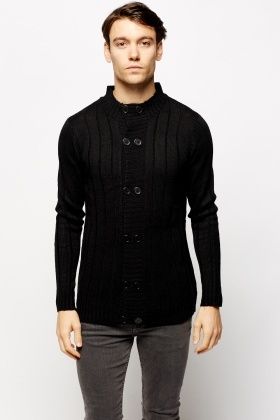 a448c3f4742 Ribbed High Neck Double Breasted Cardigan