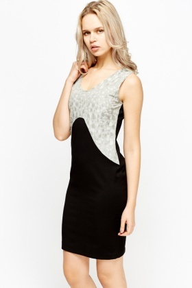 Black Embossed Shift Dress