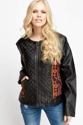 Contrast Sides Faux Leather Jacket