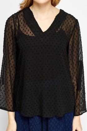 Jacquard Dotted Shirred Blouse