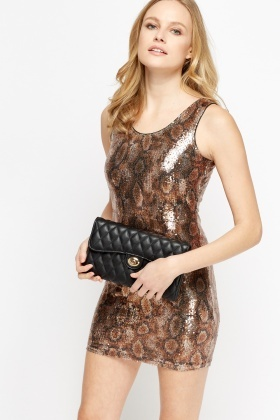Sequin Animal Print Mini Dress